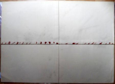 Litografia Tàpies - Litografía Doblada en Rojo y Gris