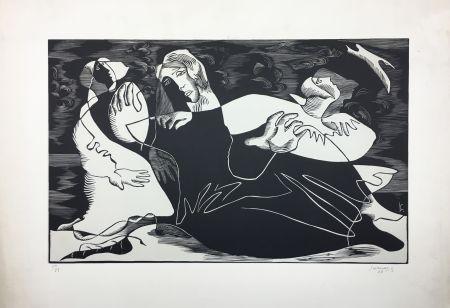 Incisione Su Legno Survage - L'Oiseau (ou Femmes de pêcheurs). Paris 1933