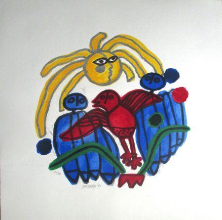 Litografia Corneille - L'oiseau rouge