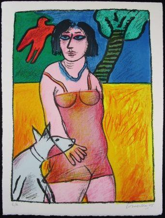 Litografia Corneille - L'Oiseau Rouge et le Chien