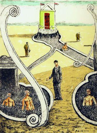 Litografia De Chirico - L'ospite dei bagnanti misteriosi