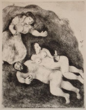 Acquaforte E Acquatinta Chagall - `Lot et ses Filles