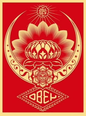 Serigrafia Fairey - Lotus Ornament Red