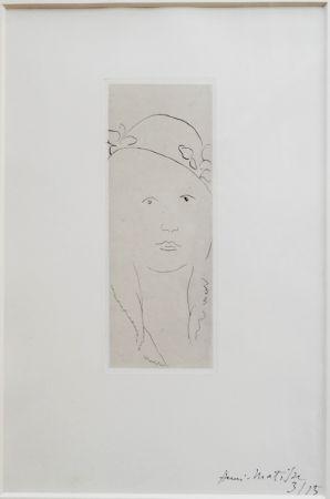 Incisione Matisse - Loulou au chapeau fleuri
