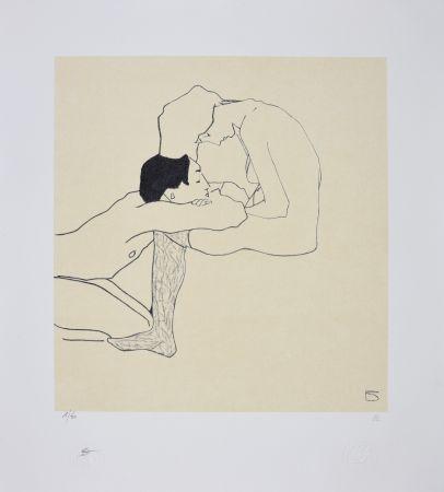 Litografia Schiele - LOVERS 1909