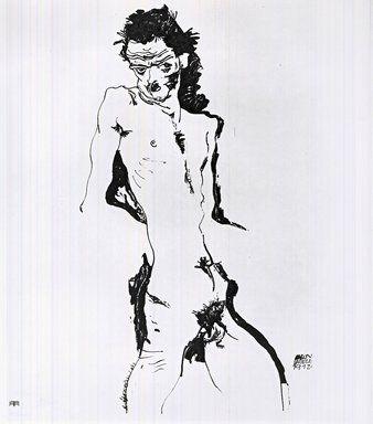 Litografia Schiele - Männlicher Akt