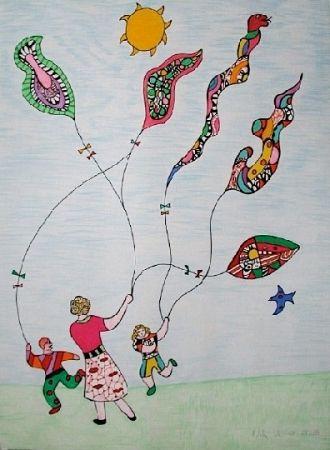 Litografia De Saint Phalle - Méchant - Méchant - Le cerf-volant