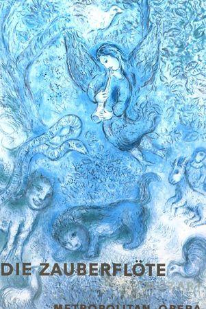 Litografia Chagall - Magical Flute In Blue< Very Rare