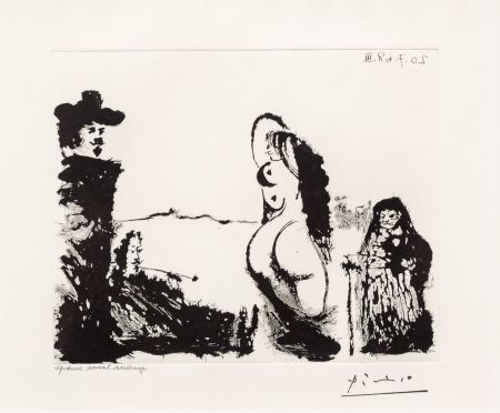 Acquatinta Picasso - Maja et Celestine
