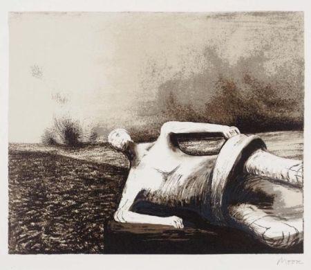 Litografia Moore - Male figure in landscape C.470
