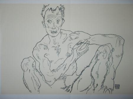 Litografia Schiele - Male nude