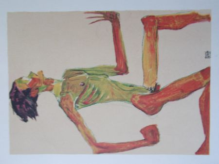 Litografia Schiele - Male nude in profil