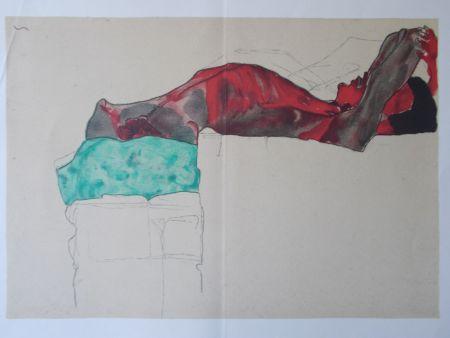 Litografia Schiele - Male nude with green cloth