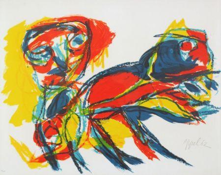 Litografia Appel - Man and Red Beast