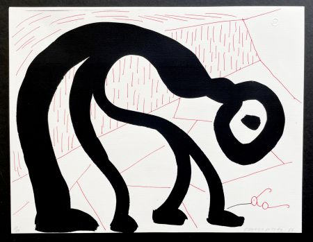 Non Tecnico Hockney - Man Looking for his glasses, April 1986