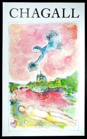 Manifesti Chagall - Marc Chagall - Vue Sur Notre Dame. Cartel Exposicion 79 X 48 Cm