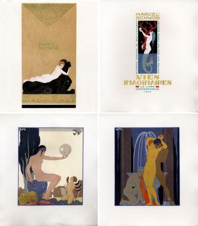 Libro Illustrato Barbier - Marcel Schwob : VIES IMAGINAIRES. Compositions par George Barbier. Le Livre Contemporain (1929). Dans une reliure Art-Déco.