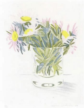 Acquaforte E Acquatinta Hockney - Marguerites