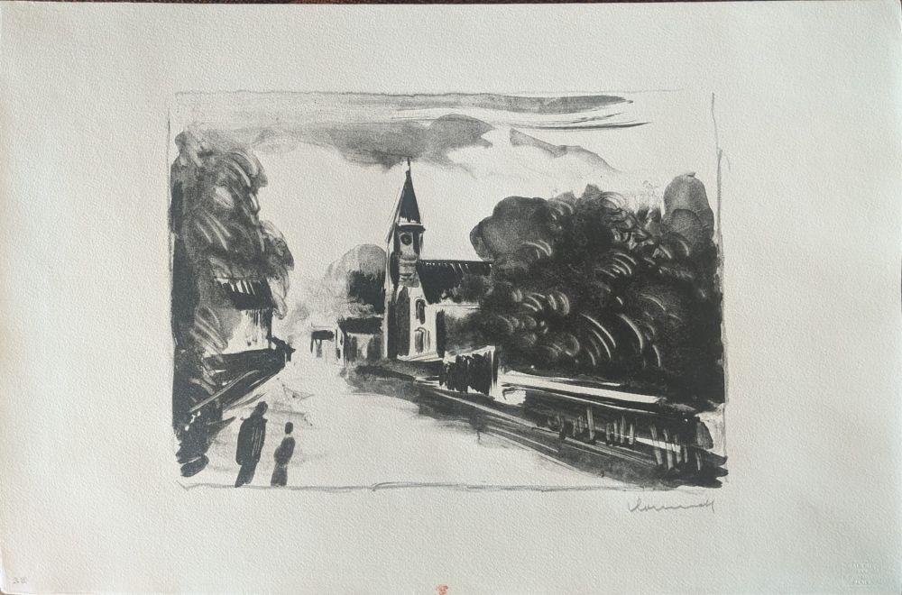 Litografia Vlaminck - Marine, l'église