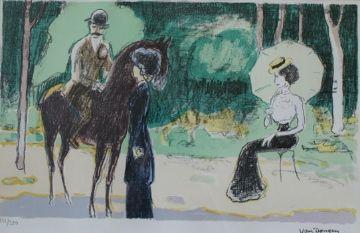 Litografia Van Dongen - Meeting in the woods
