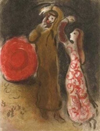 Litografia Chagall - Meeting of Ruth and Boaz M.247