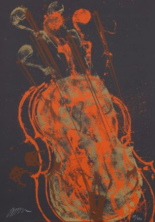 Litografia Arman - Melody for strings