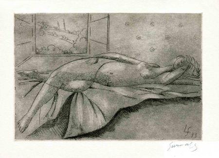 Acquaforte Survage - MELOT DU DY. A l'Amie dormante.