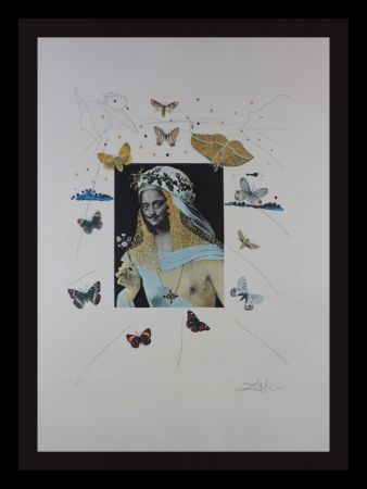 Incisione Dali - Memories of Surrealism Surrealiste Portrait of Dali Surrounded by Butterflies