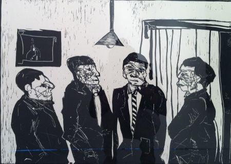 Linoincisione Nhlengethwa - Men in Black