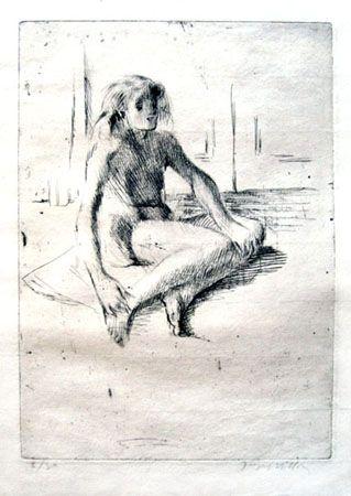 Incisione Villon - Minne assise à terre