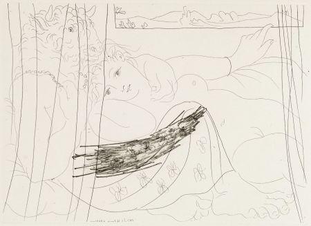 Acquaforte Picasso - Minotaure et femme derriere un rideu