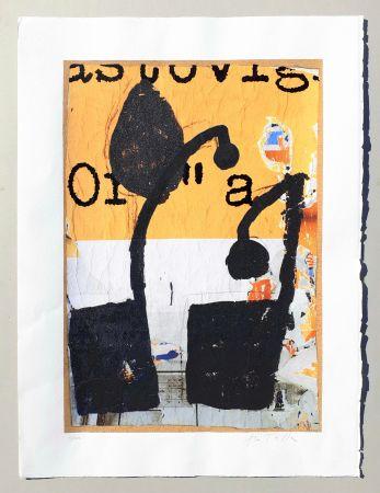 Serigrafia Rotella - Mirò in nero