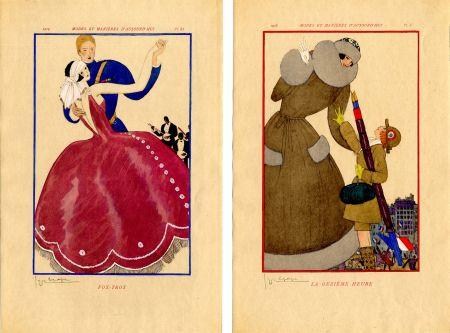 Libro Illustrato Lepape - MODES ET MANIÈRES D'AUJOURD' HUI. Années de Guerre. 1914-1919