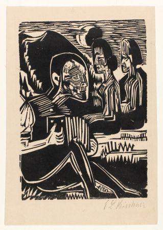 Incisione Su Legno Kirchner - Mondnacht (Selfportrait With Accordion)