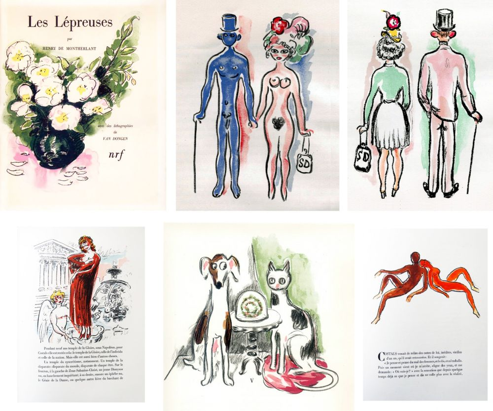 Libro Illustrato Van Dongen - Montherlant. LES LÉPREUSES. 25 lithographies originales en couleurs (1947)