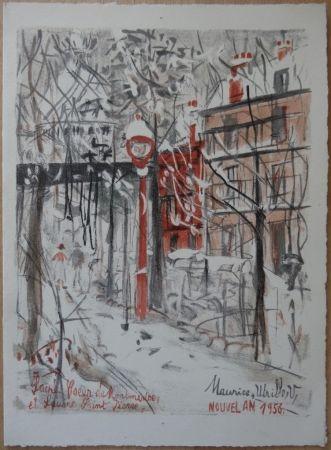 Litografia Utrillo - Montmartre sous le neige