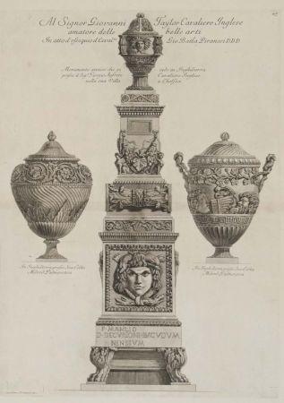 Incisione Piranesi - Monumento antiguo y dos vasos