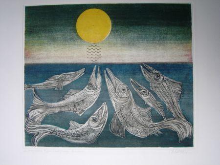 Acquaforte E Acquatinta Finsterer - Morgenstern >Fisches Nachtgesang<