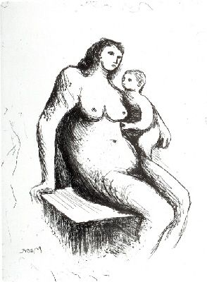 Incisione Moore - Mother and Child V