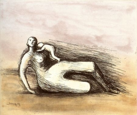 Acquaforte E Acquatinta Moore - Mother and Child VII