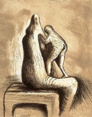 Acquaforte E Acquatinta Moore - Mother and Child XIV
