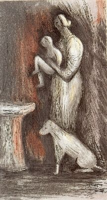 Acquaforte E Acquatinta Moore - Mother and Child XXIII
