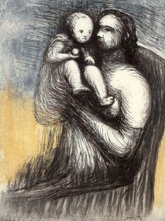 Acquaforte E Acquatinta Moore - Mother and Child XXV