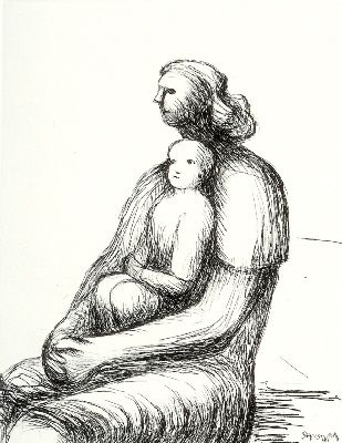 Incisione Moore - Mother and Child XXVII