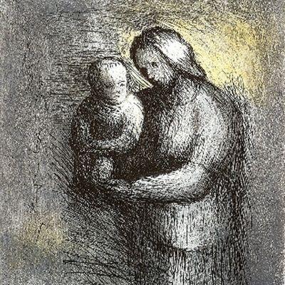 Acquaforte E Acquatinta Moore - Mother & Child I