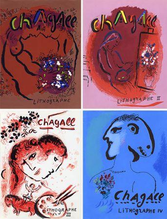 Libro Illustrato Chagall - Mourlot & Sorlier : Chagall lithographe I à IV avec 28 lithographies originales.