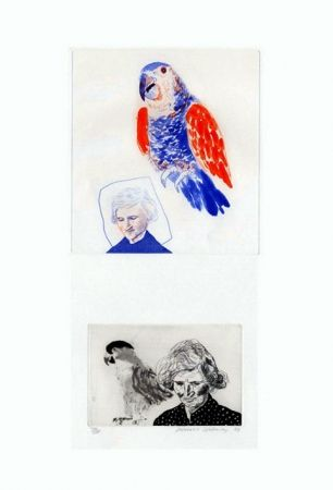 Incisione Hockney - My mother with a parrot