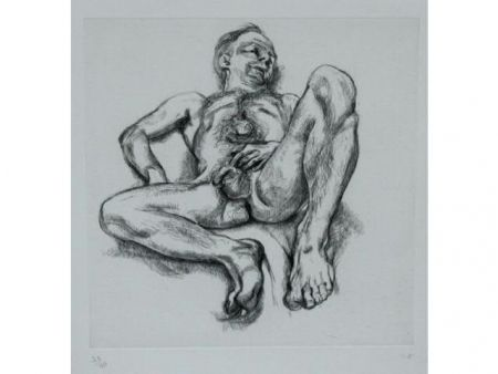 Acquaforte Freud - Naked man on a bed