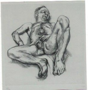 Incisione Freud - Naked man on a bed