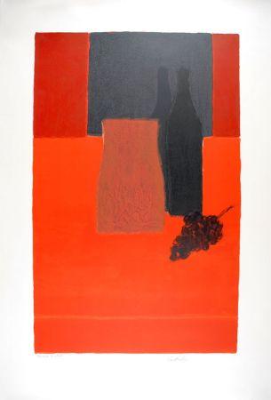 Litografia Cathelin - Nature morte à la nappe rouge et à la grappe de raisin - Still Life with bunch of grapes on a red tablecloth